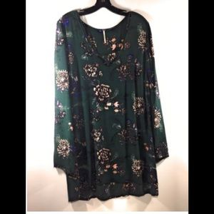 Free People long sleeve green floral mini